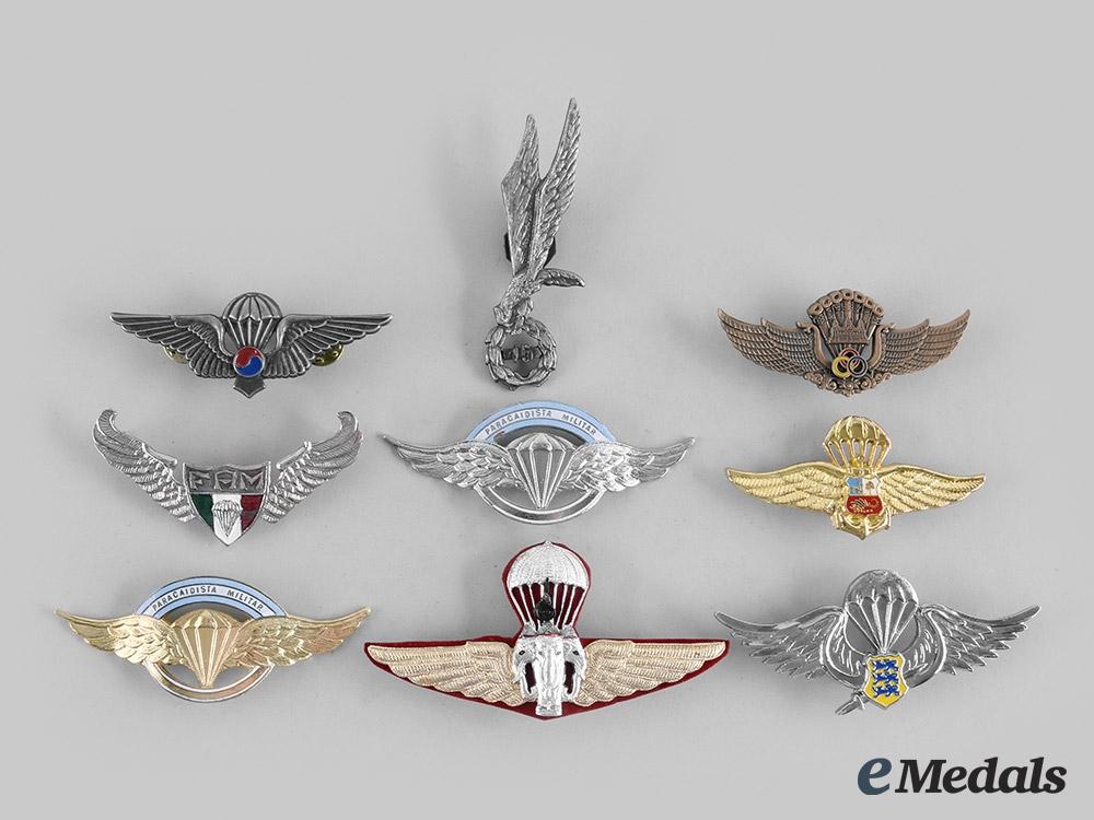 Argentina, Cambodia, Estonia, Korea, Mexico, Peru, Poland, Thailand. Lot of Nine Parachutist Badges