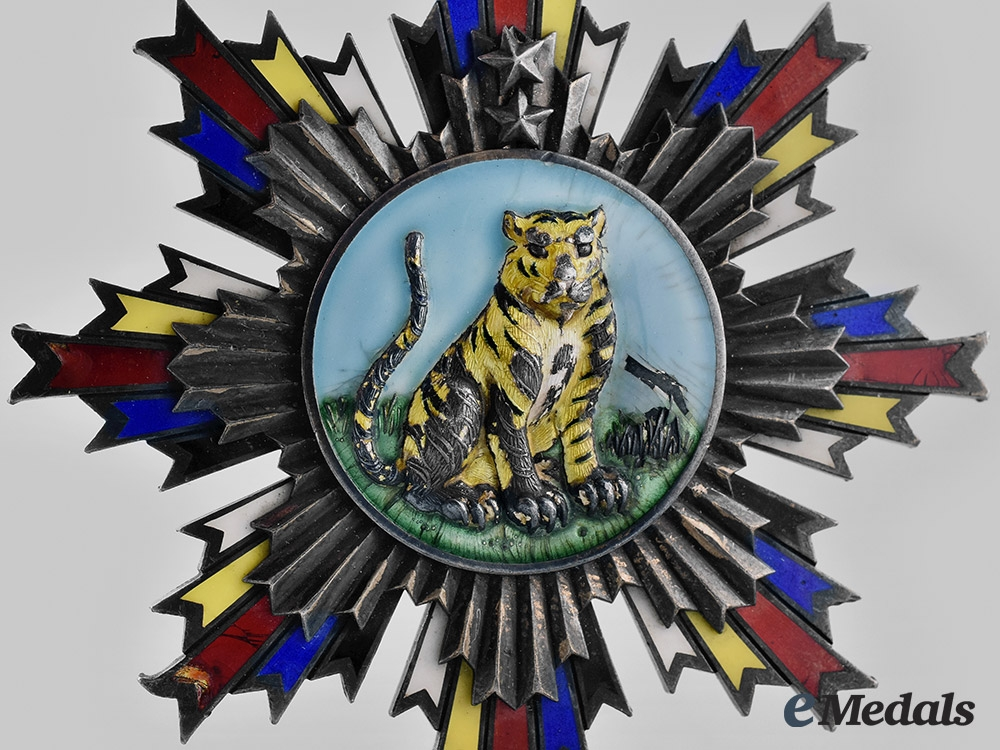 China, Republic. An Order of the Striped Tiger, II Class Sash Badge, c.1920