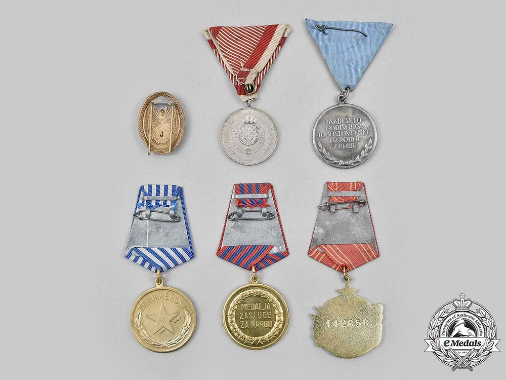 Yugoslavia, Kingdom, Socialist Federal Republic. A Lot of Six Medals and Badges