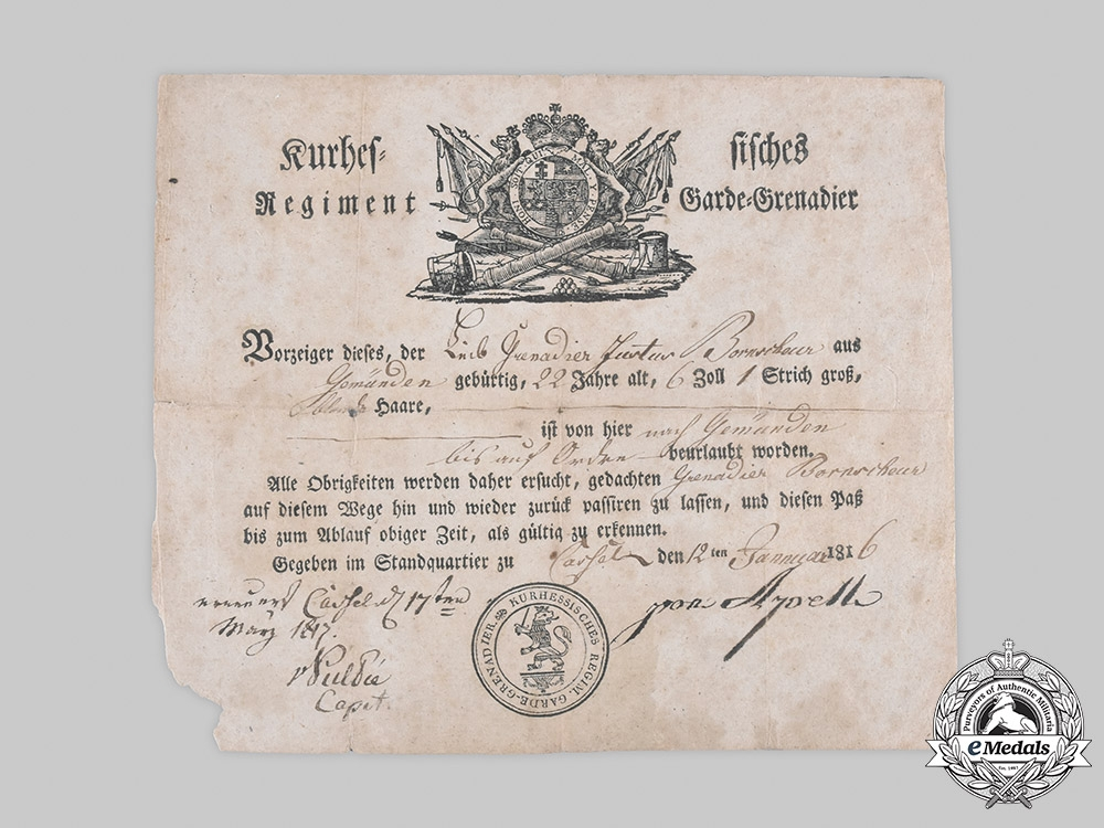 Hesse, Grand Duchy. A Leave of Absence Certificate to Life Grenadier Bornscheur, 1816