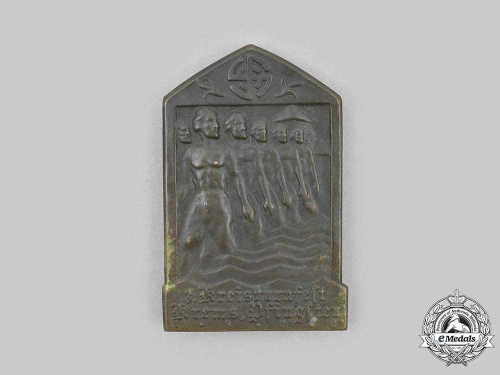 Austria, First Republic. A 1928 Krems-an-der-Donau Regional Gymnastics Competition Badge