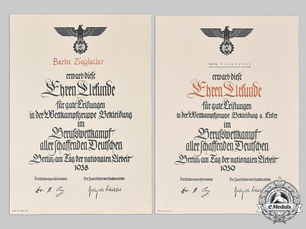 Germany, Third Reich. A Lot of Award and Promotion Documents to a Single Family
