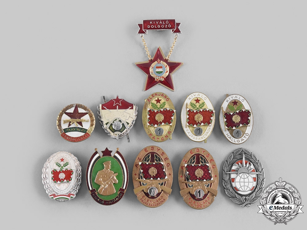 Hungary, People's Republic. Lot of Eleven Military Badges