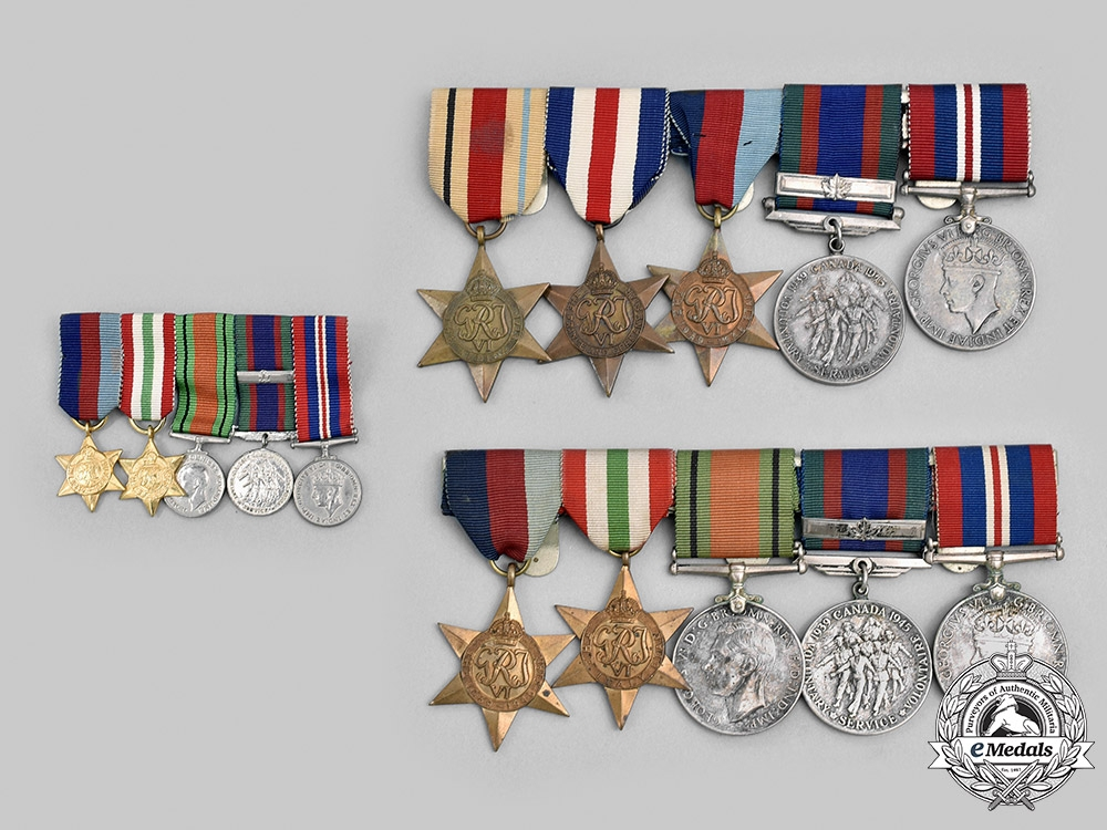 Canada. Two Second World War Medals Bars with Miniature Bar