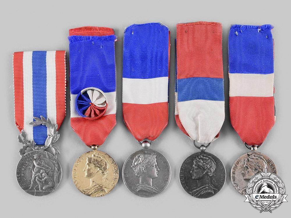 France, III Republic. A Lot of Five Honour Medals
