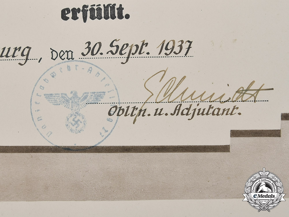 Germany, Heer. A Large Service Document to Anti-Tank Gefreiter Holstein 1937