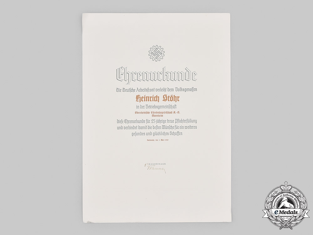 Germany, DAF. A German Labour Front 25 Year Long Service Certificate to Railway Worker, 1940