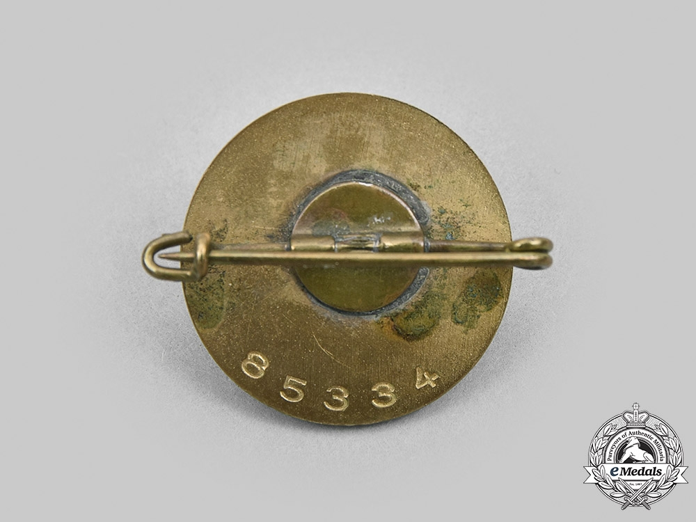 Germany, NSDAP. A Golden Party Badge, Small Version, by Josef Fuess