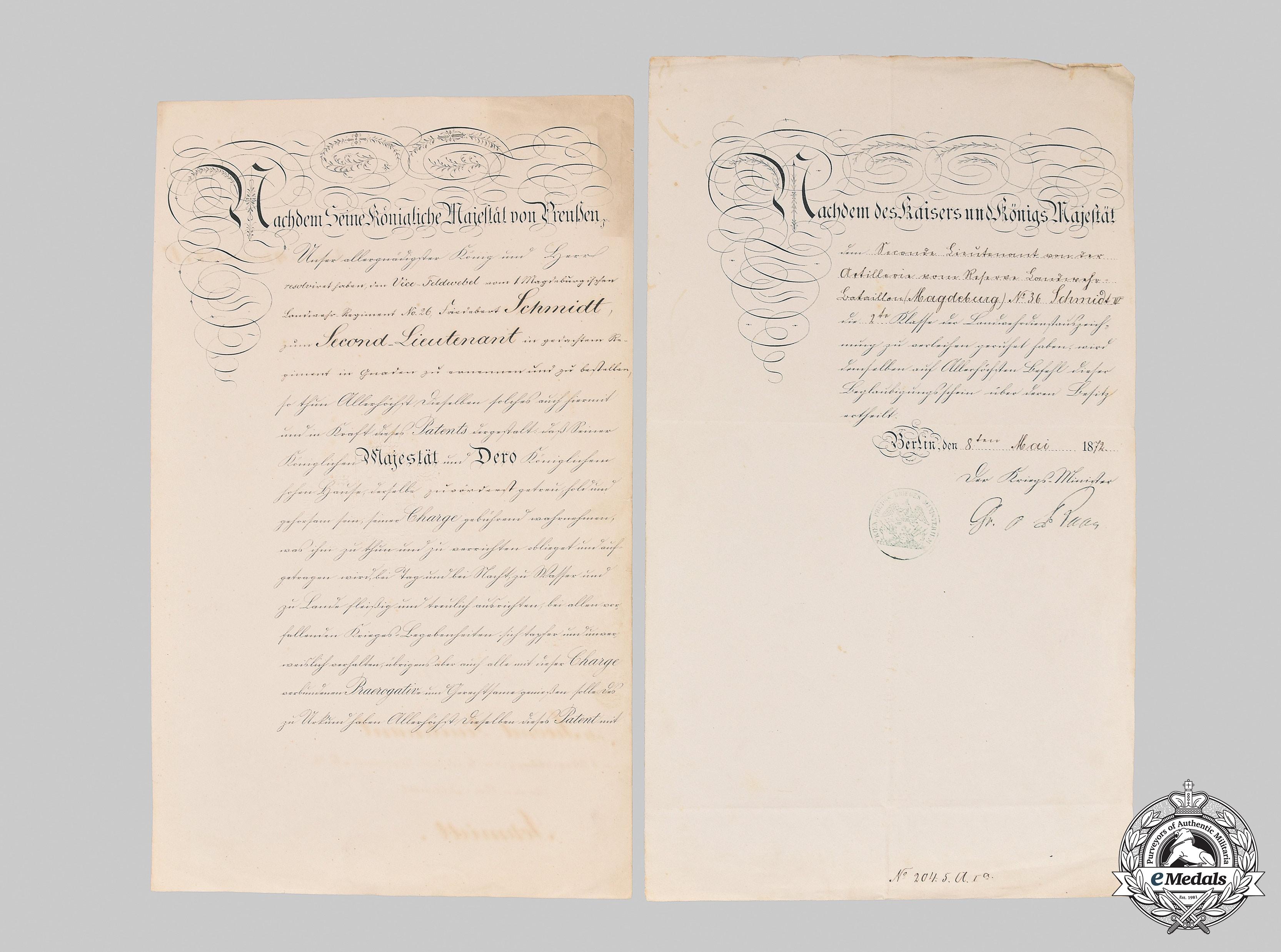 Prussia, Kingdom. Two Documents to Second Lieutenant Schmidt, Franco-Prussian War, 1867