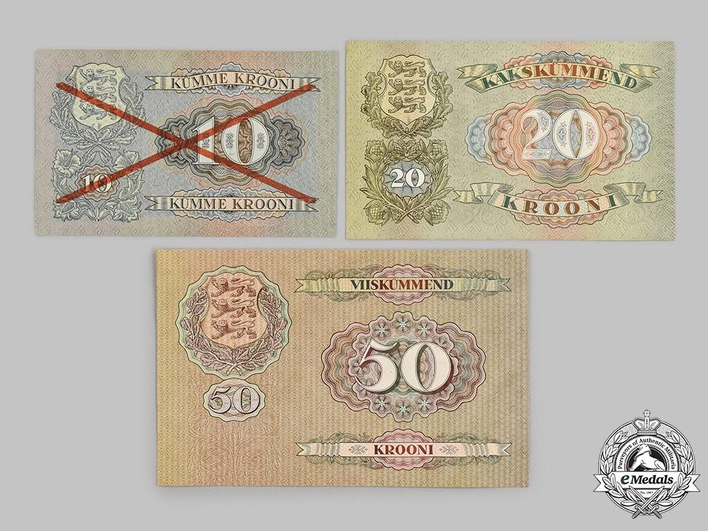 Estonia, Republic. A Lot of Three Banknotes, c.1930