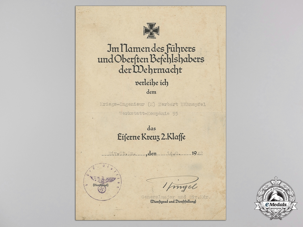 A Group of Documents & Awards to the 26th Panzer Division