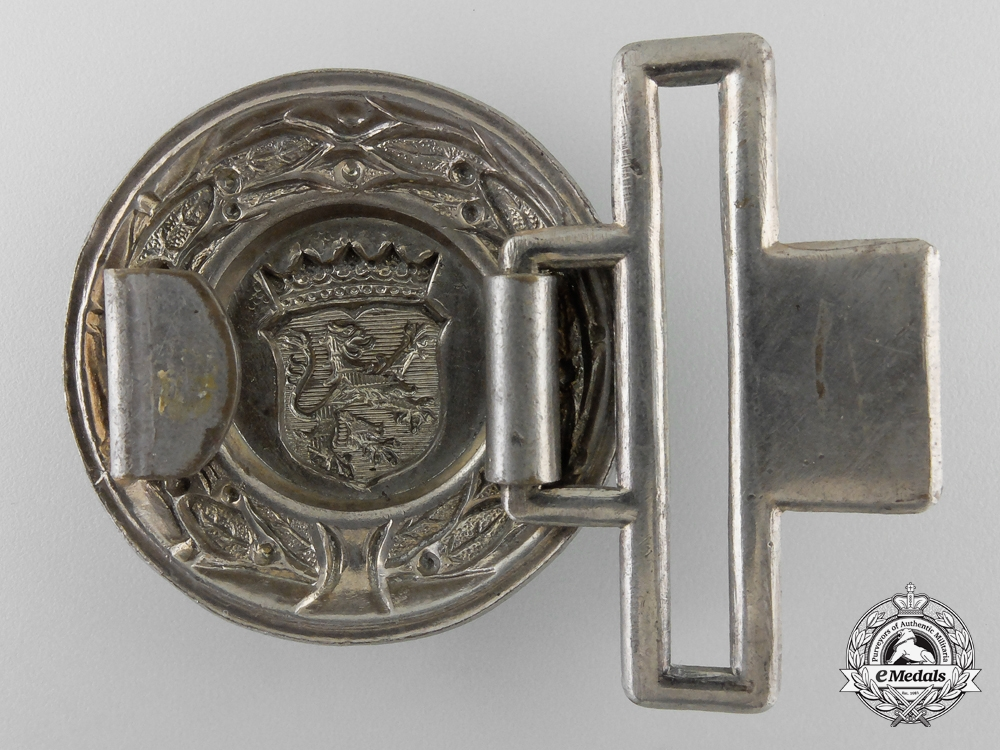 A Free State of Hesse (Freistaat Hessen) Fire Defence Service Officer's Belt Buckle; Published Example