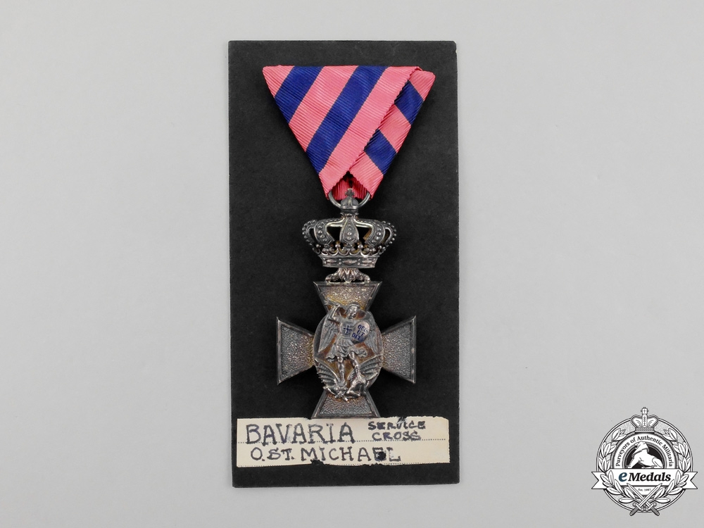 Bavaria. A Bavarian Royal Merit Order of St. Michael Service Cross with Crown