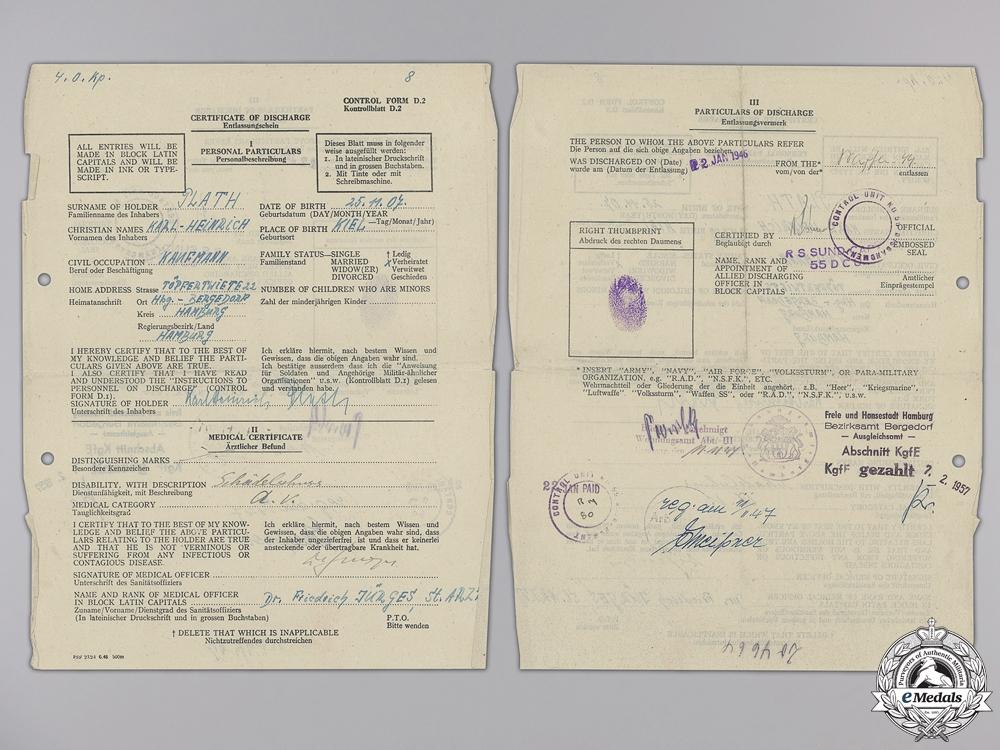 An SS Document & Photo Group to Untersturmführer Karl-Heinrich Plath; Nordland Division