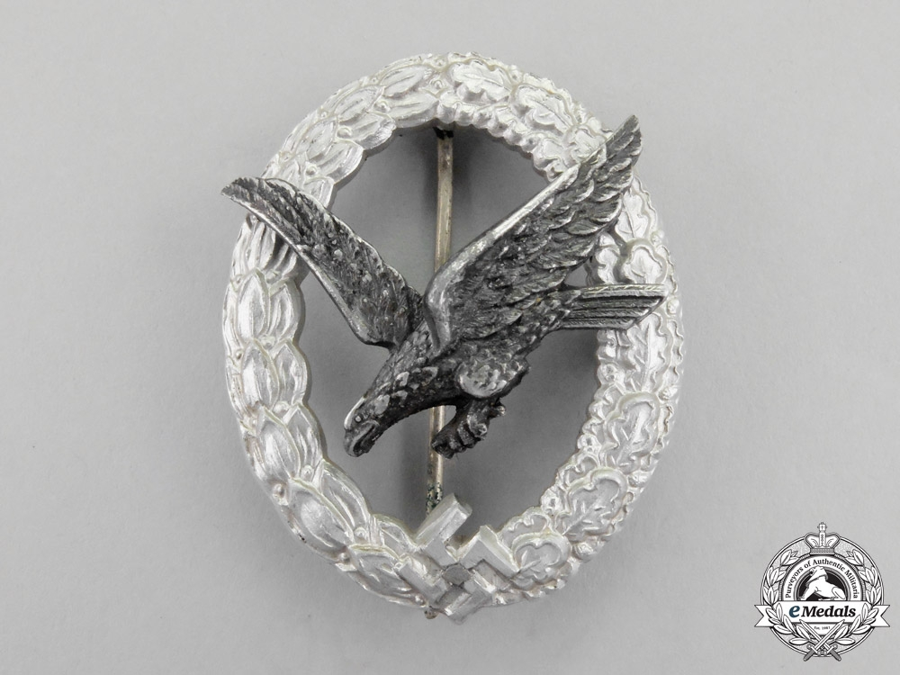 A Fine Luftwaffe Radio Operator Badge by F.W. Assmann & Söhne; Aluminum Version
