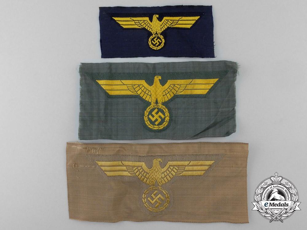 Three Kriegsmarine Cloth Eagles