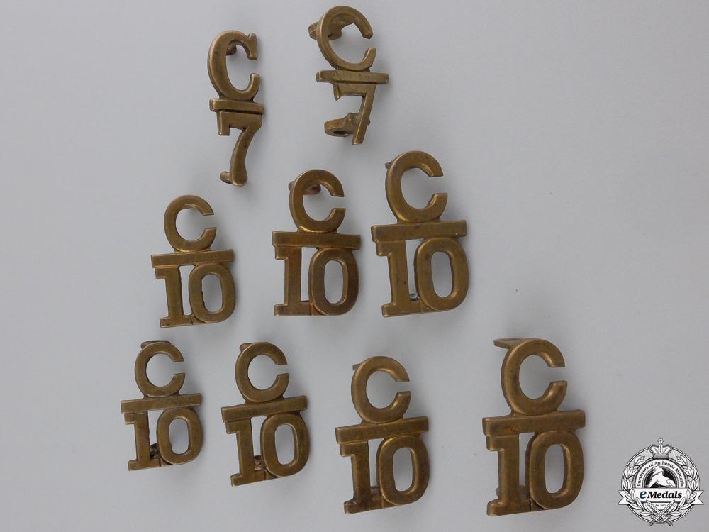 Nine First War Canadian Collar Battalion Insignia