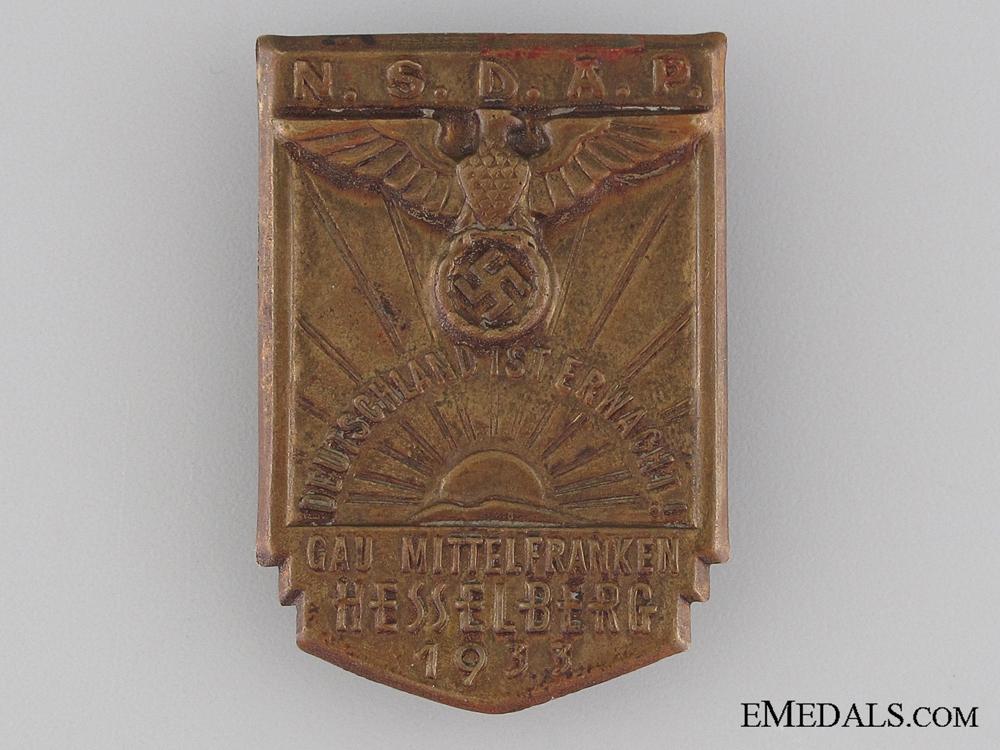 NSDAP Gau Mittelfranken Hesselberg Tinnie, 1931