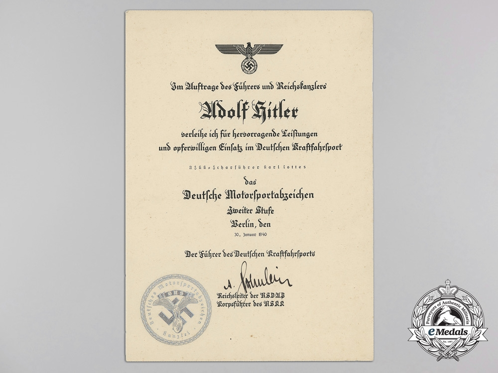 Germany. A Rare Motor Sport Badge with Award Document, Published Example