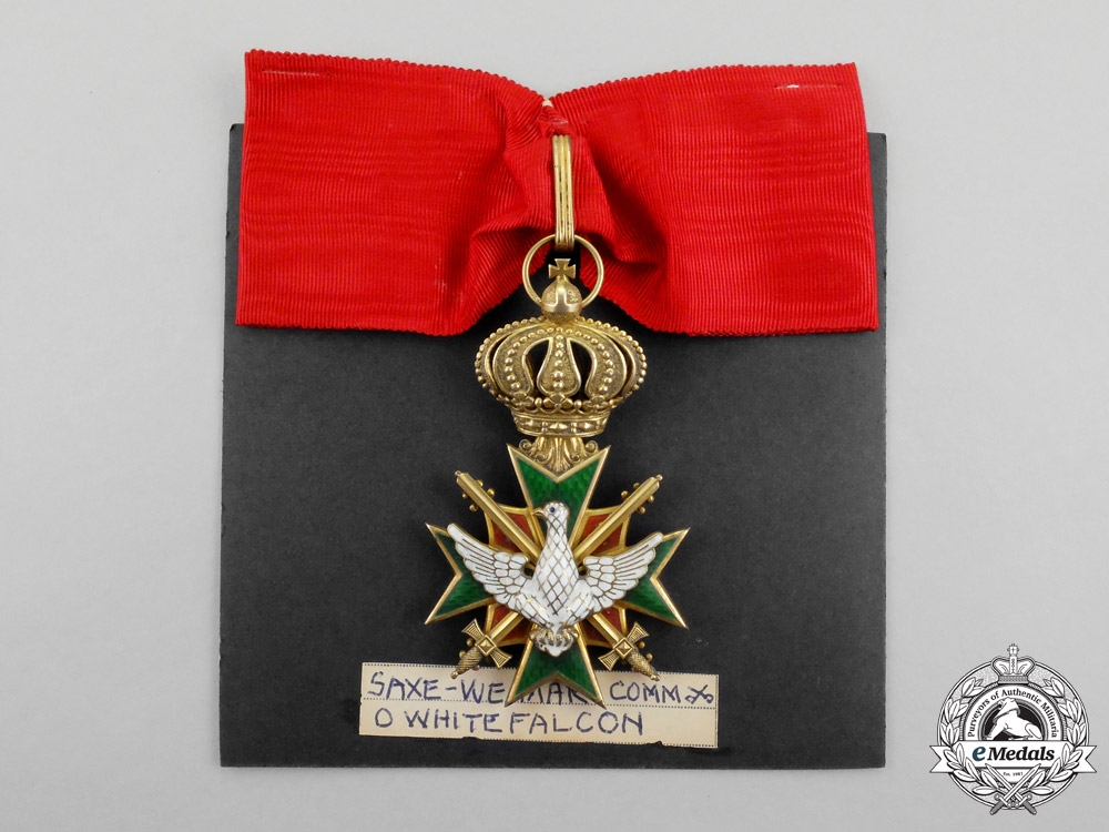 Saxon-Weimar. An 1870-1918 Order of the White Falcon Commander Cross with Swords