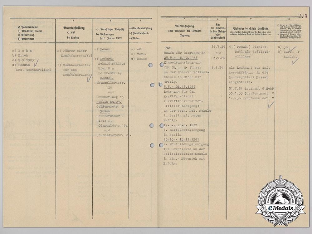 Police Promotion Document w/ Signature of SS-Reichsführer Heinrich Himmler