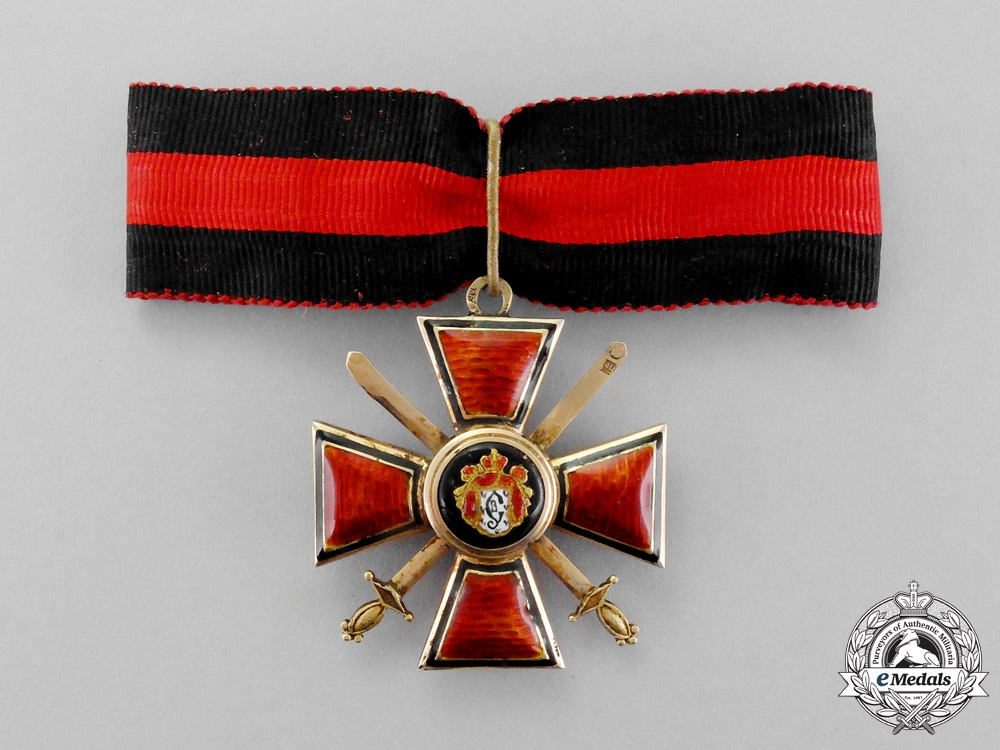 Imperial Russia. A Fine Order of St. Vladimir, 3rd Class Neck Badge in Gold, Military Division