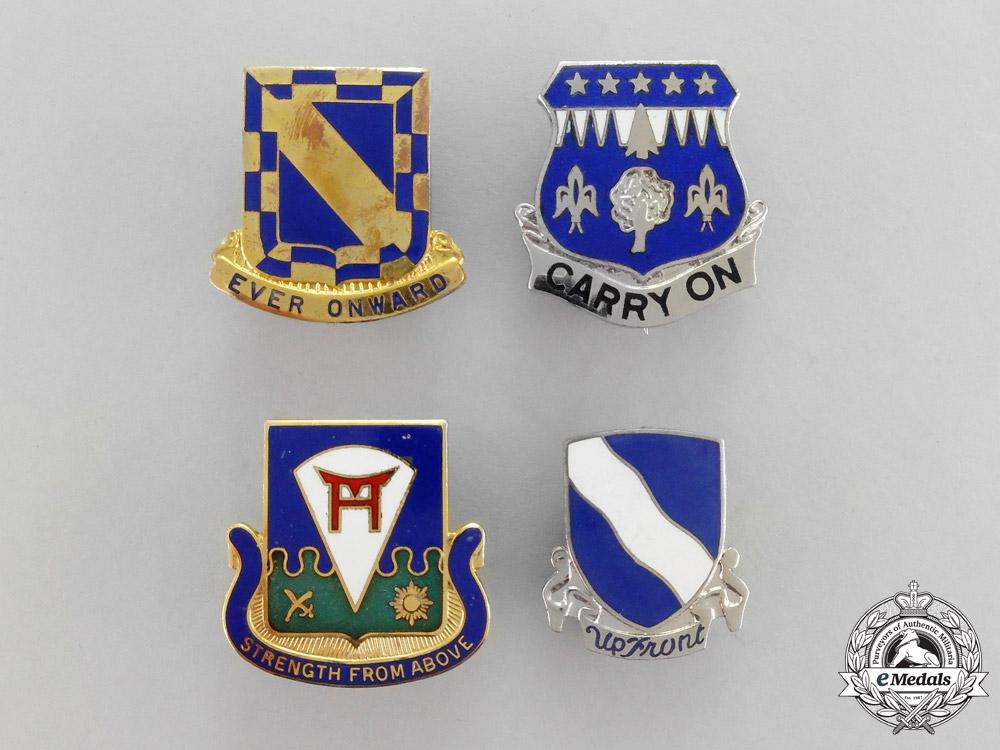 United States. Four Second War American Regimental Insignia Pins