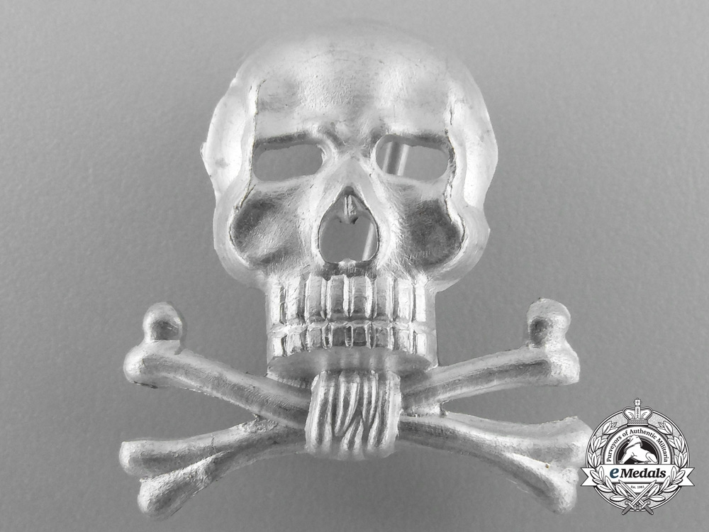 A Braunschweiger Totenkopf (Skull) Officer's Cap Insignia for the Infantry Regiment Nr. 92 or Hussars. 17