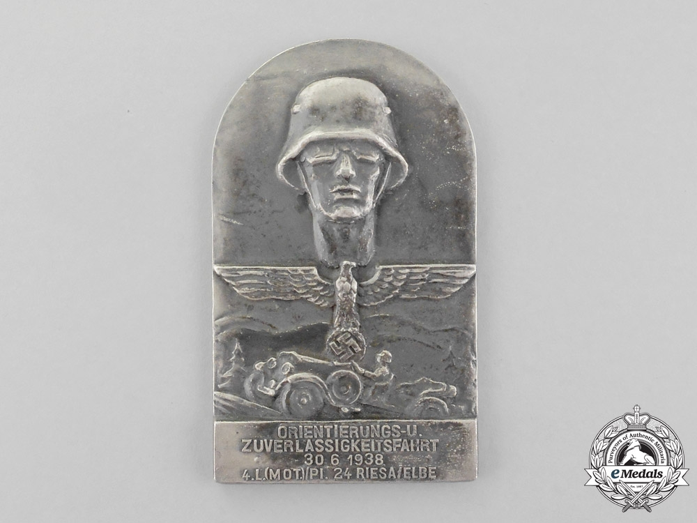 A 1938 Wehrmacht Heer (Army) Motor Corps Orientation and Licencing Cruize Table Medal
