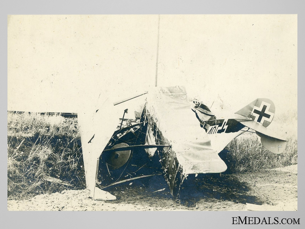 Photo of Destroyed German Plane c. 1915