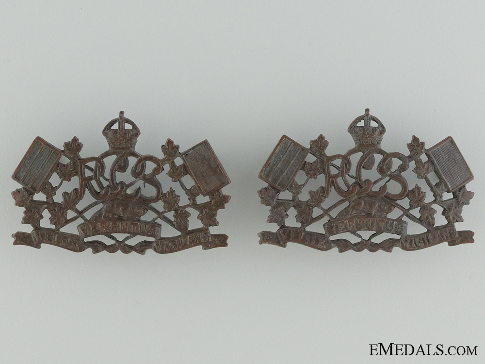 Post-WWI Royal Canadian Corps of Signals Collar Tab Pair