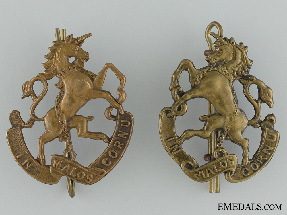 Pre-WWI 9th Mississauga Horse Collar Tab Pair