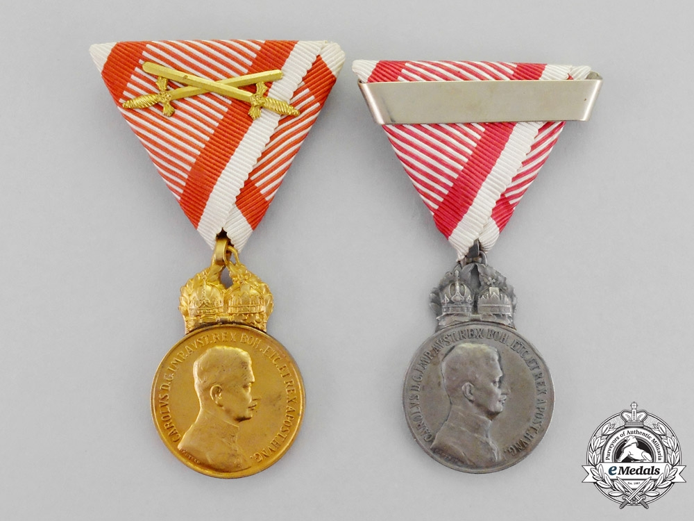 """"""" Austria, Imperial. Two Military Merit Medals, c. 1917/18 by Kautsch"""""""