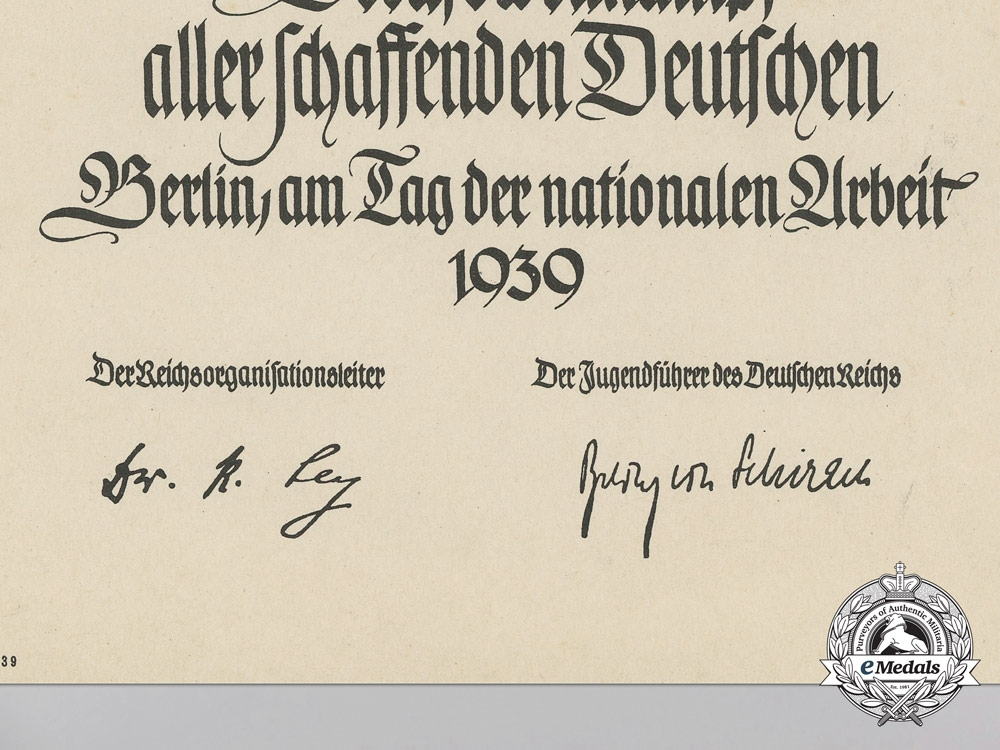 An HJ Award Document for Great Achievements of a Hitler Youth Boy at the Trades Competition in Berlin 1939
