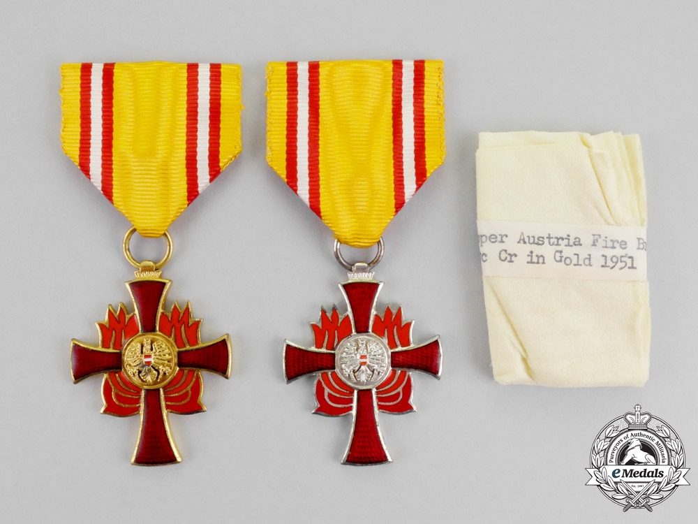 Austria, Second Republic. Two Fire Brigade Association Medals for Distinguished Services