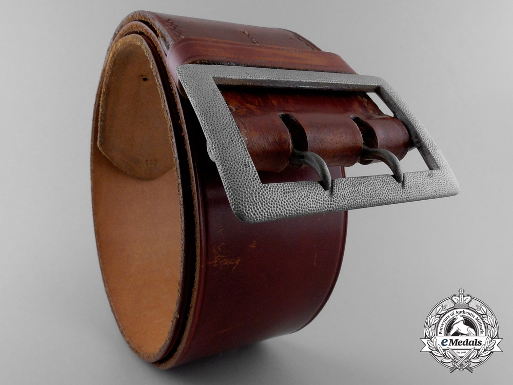 A Brown Leather Belt with Double Open Claw Buckle; Heer Stamped