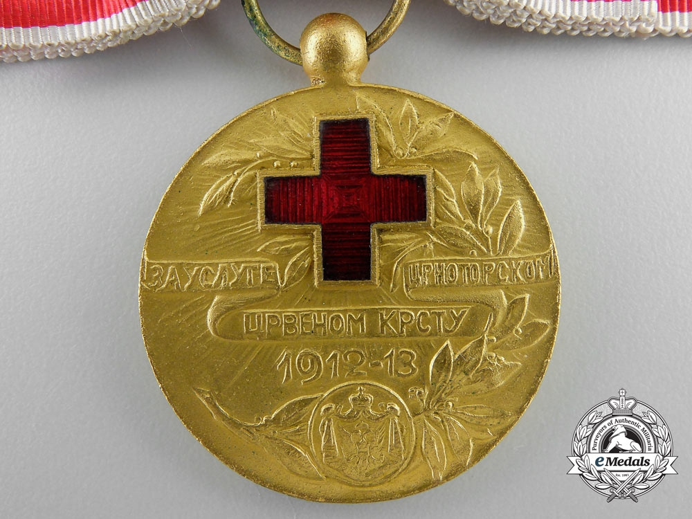 A Red Cross Medal of Montenegro 1913 in Gold with Case