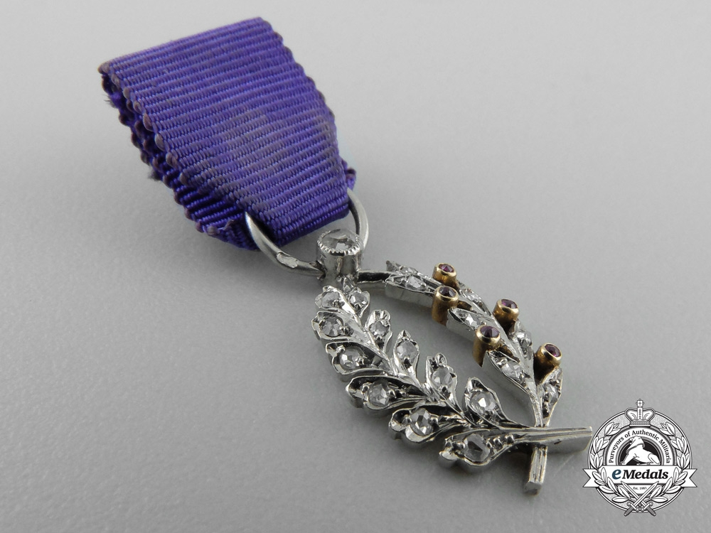 A Miniature French Order of Academic Palms in Gold with Diamonds
