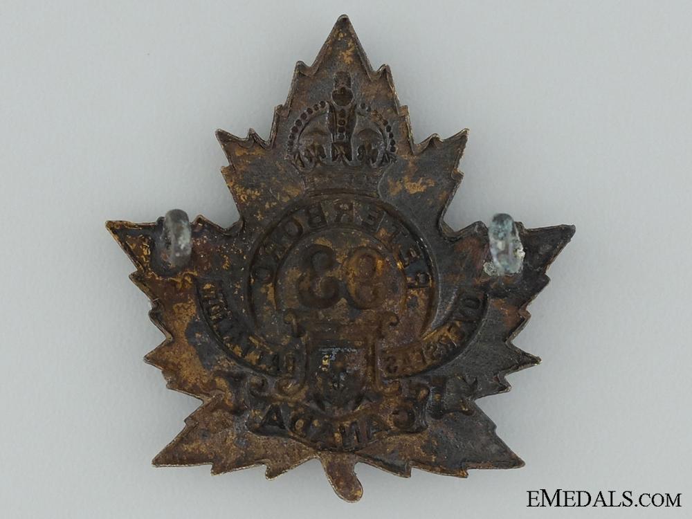 93rd Battalion (Peterborough, Ontario) Cap Badge CEF