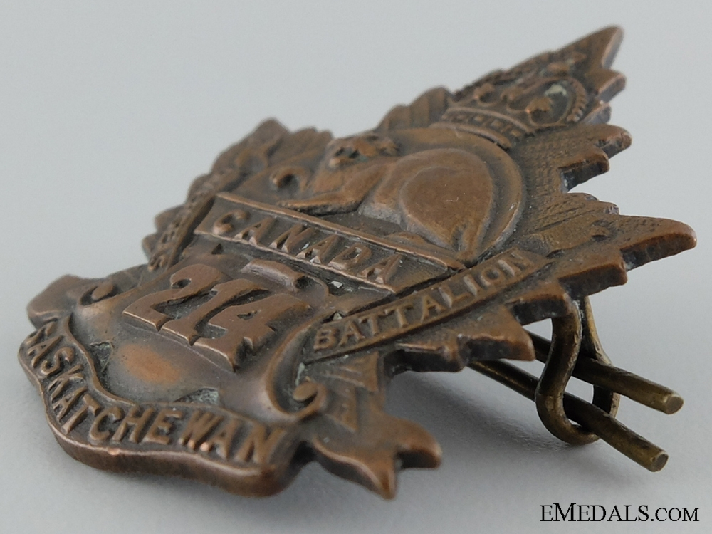 "WWI 214th Infantry Battalion ""Saskatchewan Battalion"" Cap Badge"