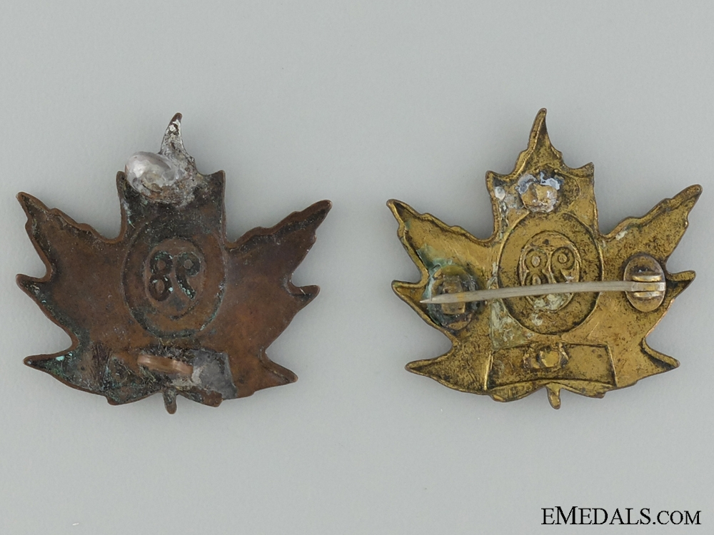 WWI 98th Infantry Battalion Collar Pair CEF