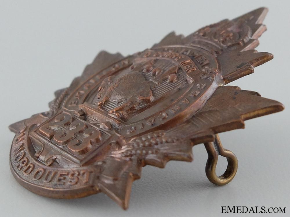 """WWI 233rd Infantry Battalion """"Canadiens Francais"""" Cap Badge"""
