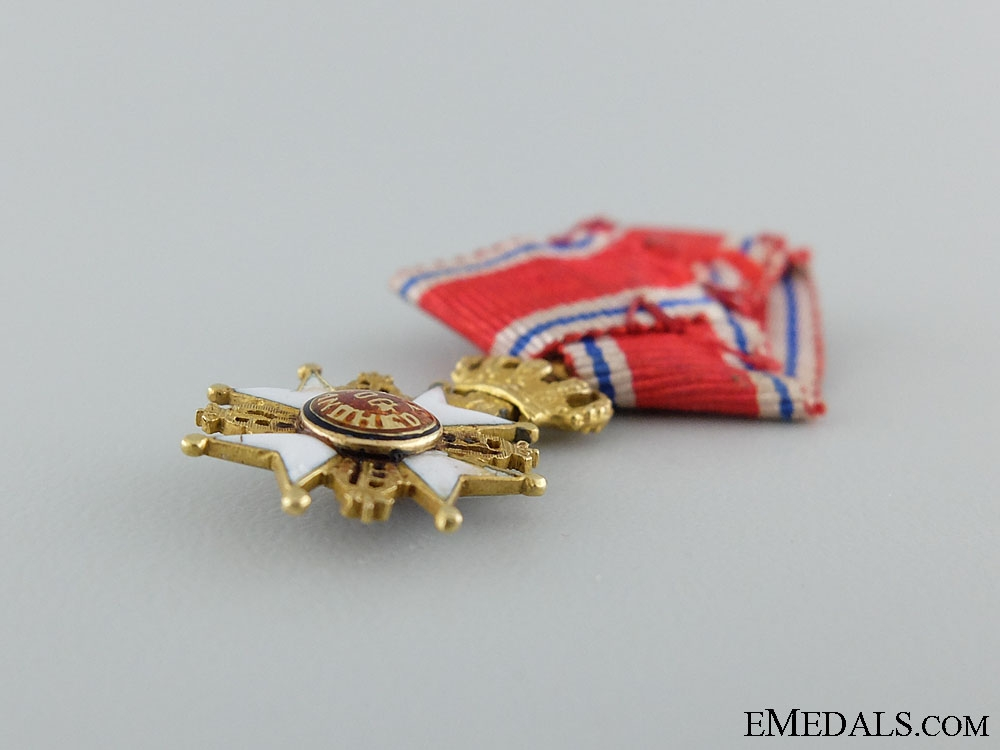 A Miniature Gold Norwegian Order of St.Olav