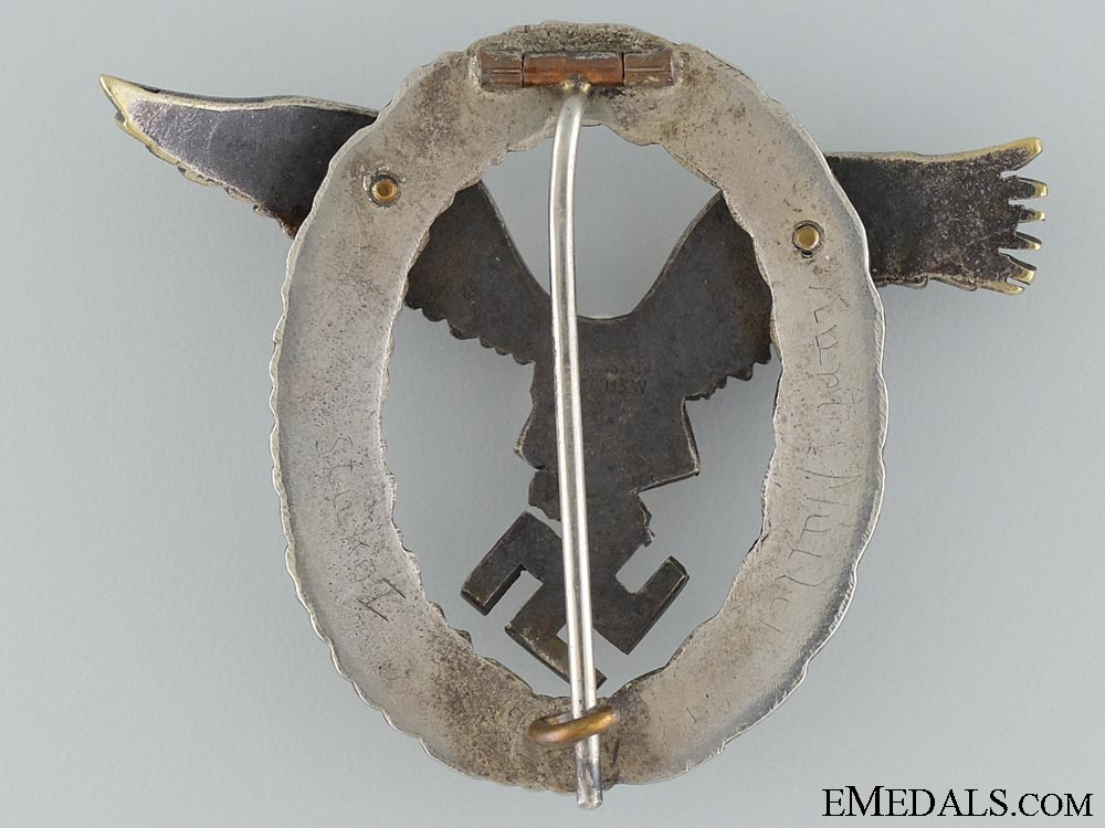 A Early Pilot Badge by Juncker to Kurt Muller of Stuka I