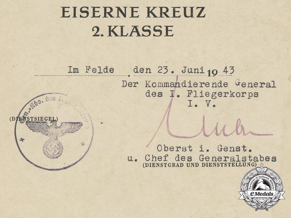 An Award Document for Iron Cross 2nd Class 1939; Sturzkampfgeschwader 2