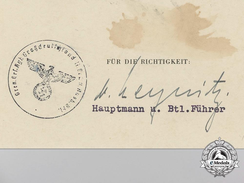 A Group of Award documents to Oberfeldwebel; Panzer Grenadier Division Großdeutschland