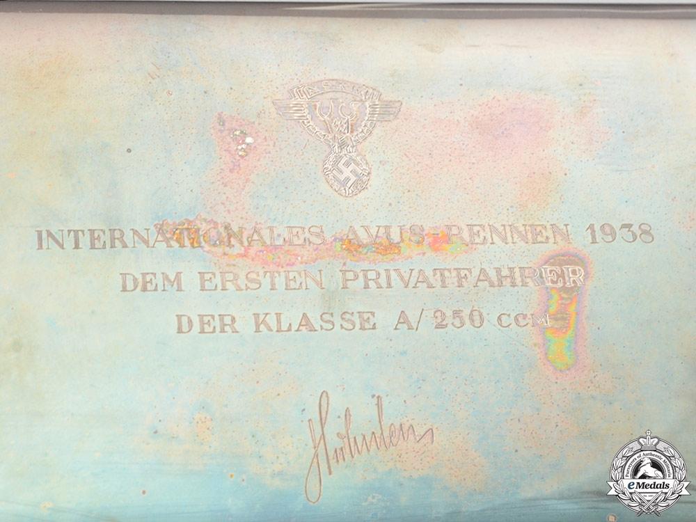 A National Socialist Motor Corps Avus Race Privateer Class A 1938 Solid Silver Award Cigar Box