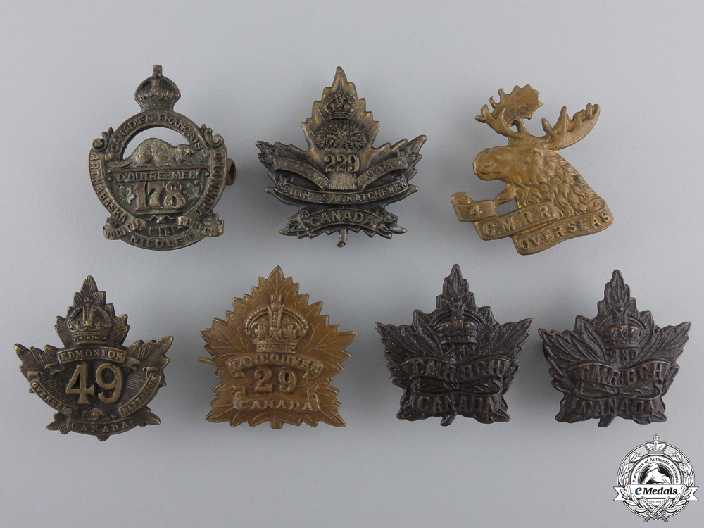 Seven CEF Battalion Collar Badges