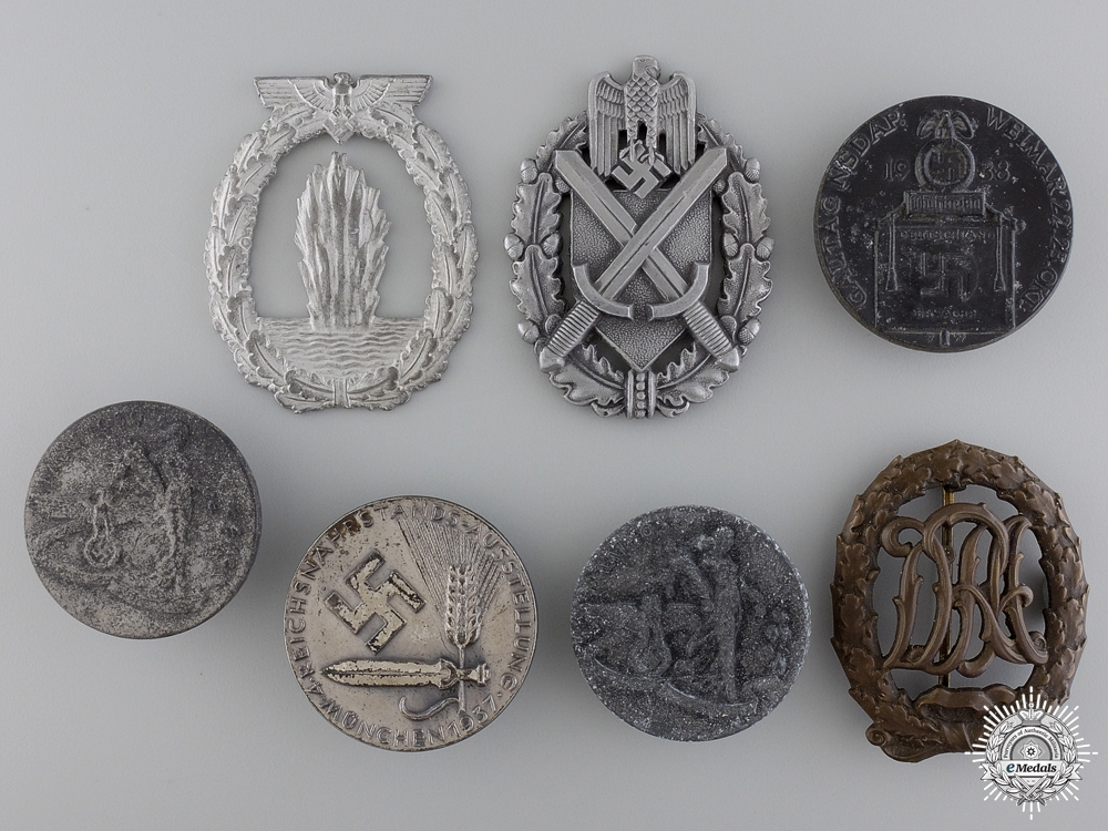 Seven Second War German Awards, Insignia, and Badges