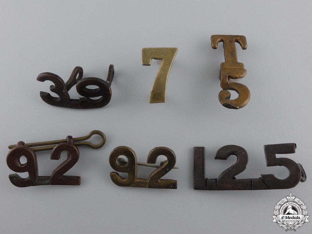 Six First War Canadian Collar Unit Insignia